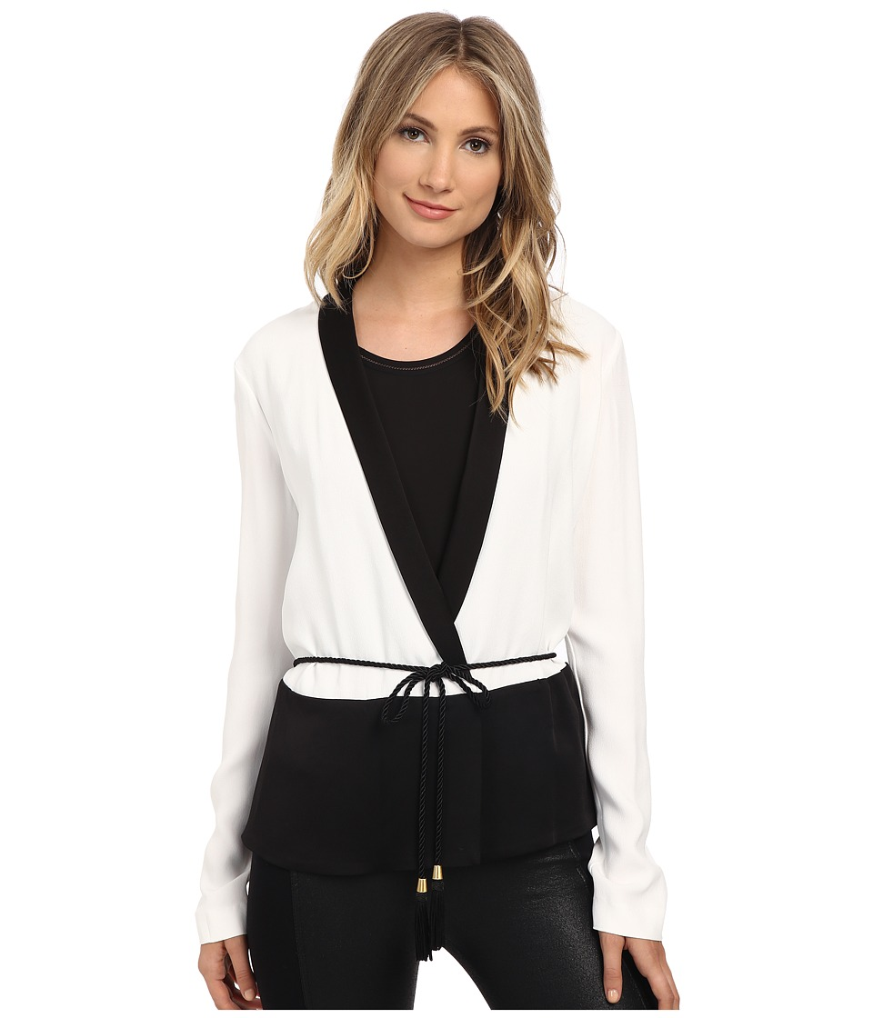Rachel Zoe - Alex Wrap Tuxedo Top (White/Black) Women's Blouse