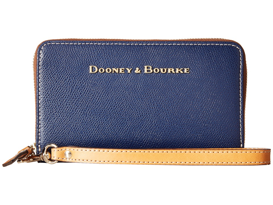 Dooney & Bourke - Claremont Zip Around Credit Card Phone Wristlet (Navy/Butterscotch Trim) Wristlet Handbags