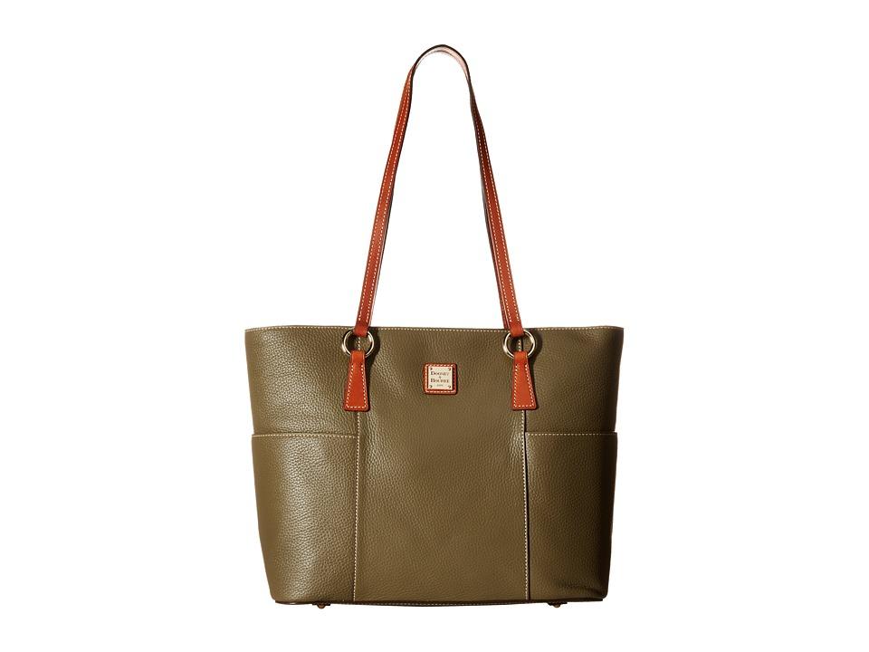Dooney & Bourke - Pebble Helena Shopper (Olive/Tan Trim) Tote Handbags