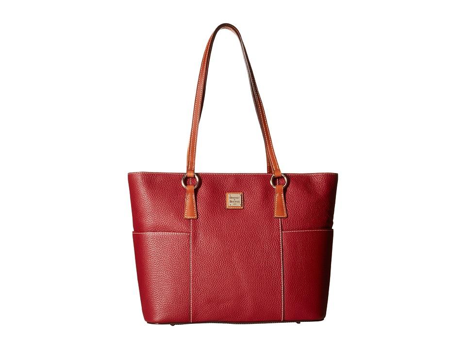 Dooney & Bourke - Pebble Helena Shopper (Wine/Tan Trim) Tote Handbags