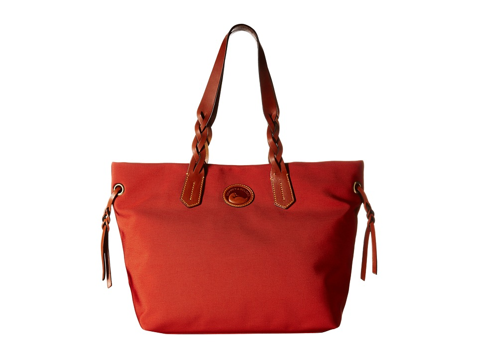Dooney & Bourke - Nylon Shopper (Brick/Tan Trim) Tote Handbags