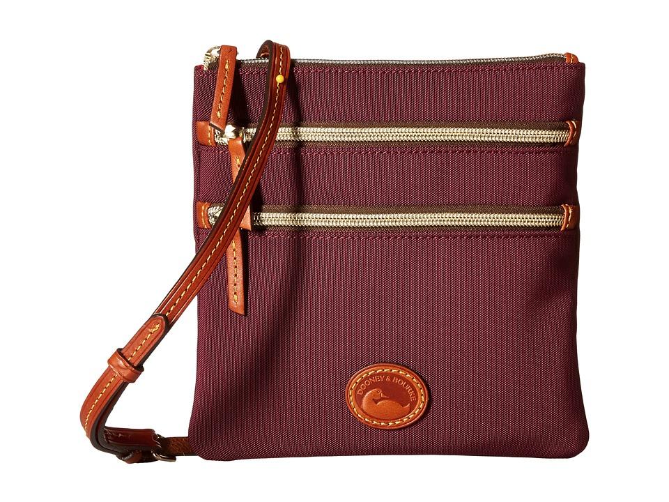 Dooney & Bourke - Nylon North/South Triple Zip (Rouge/Tan Trim) Cross Body Handbags