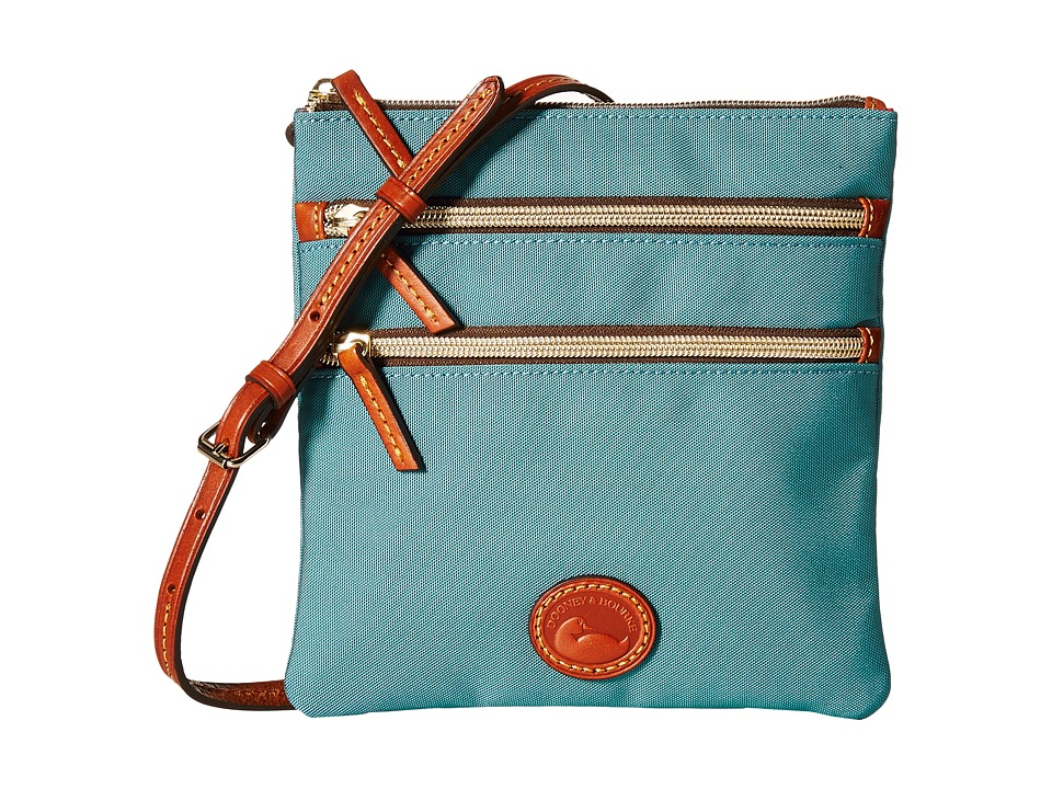 Dooney & Bourke - Nylon North/South Triple Zip (Teal/Tan Trim) Cross Body Handbags