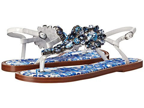 Dolce & Gabbana - CQ0013 (White/Blue Print) Women's Sandals