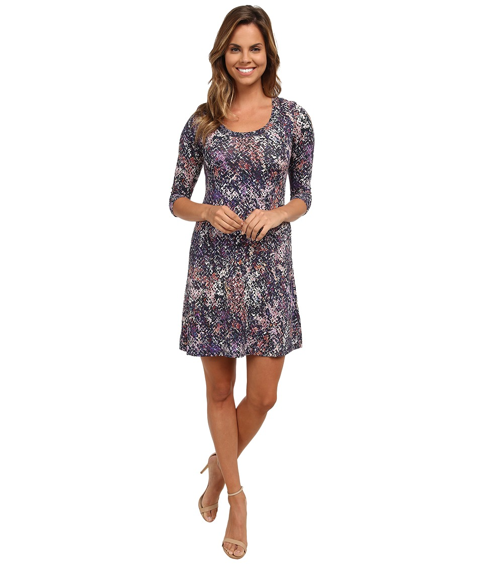 Karen Kane - 3/4 Sleeve A-Line Dress (Print) Women