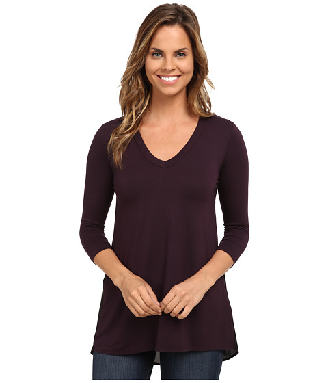 Karen Kane - Contrast Black Tunic (Eggplant) Women's Clothing