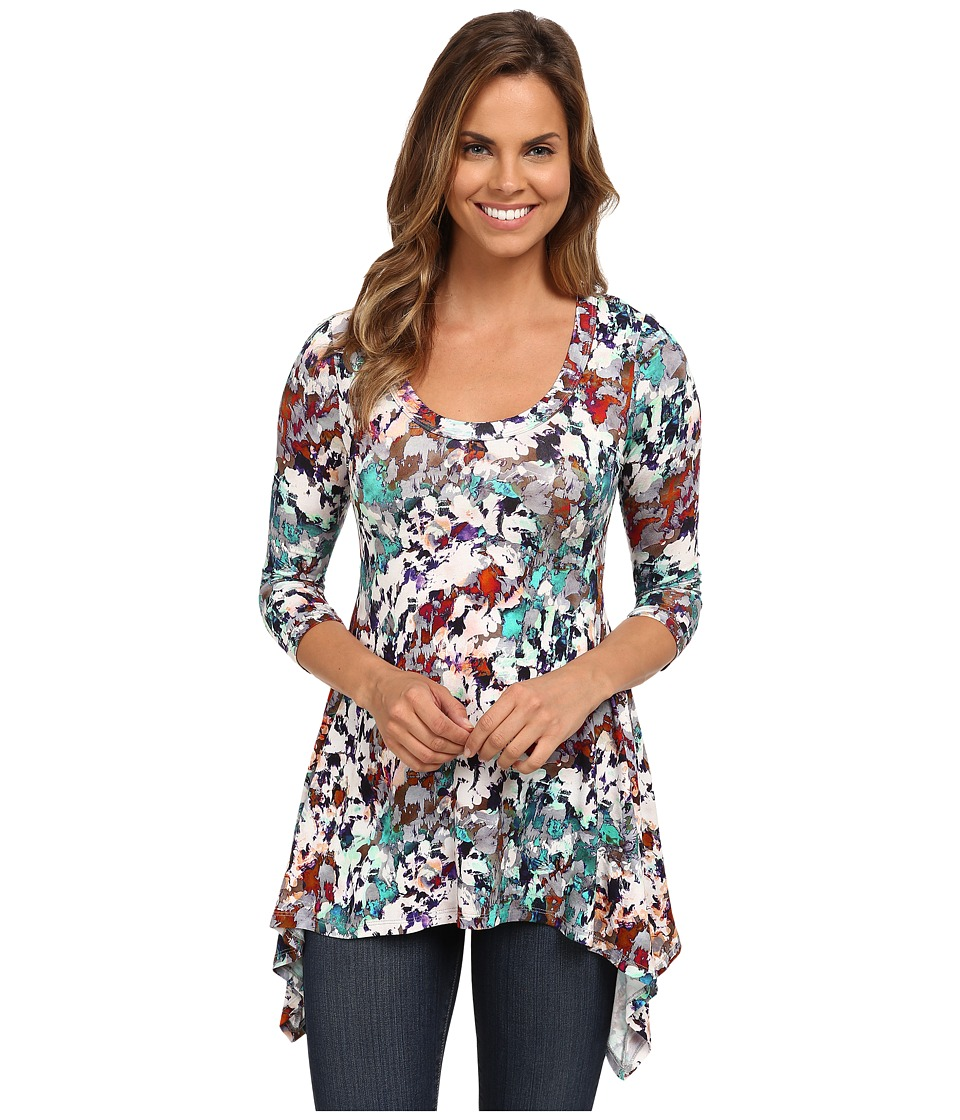 Karen Kane - 3/4 Sleeve Handkerchief Top (Print) Women's Clothing