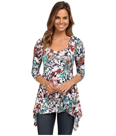 Karen Kane - 3/4 Sleeve Handkerchief Top (Print) Women's Clothing