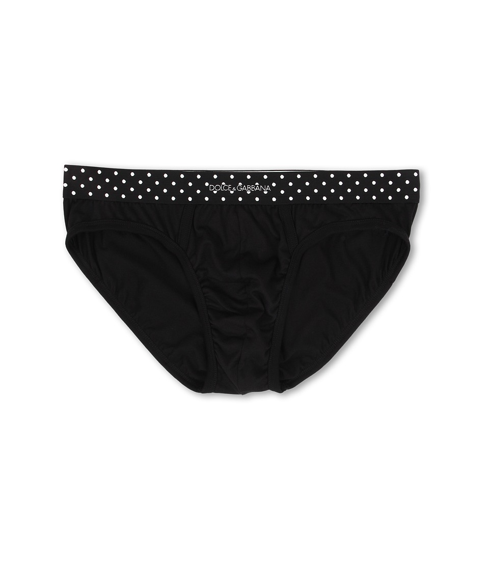 Dolce & Gabbana - Polka Dot Midi Brief (Black) Men's Underwear