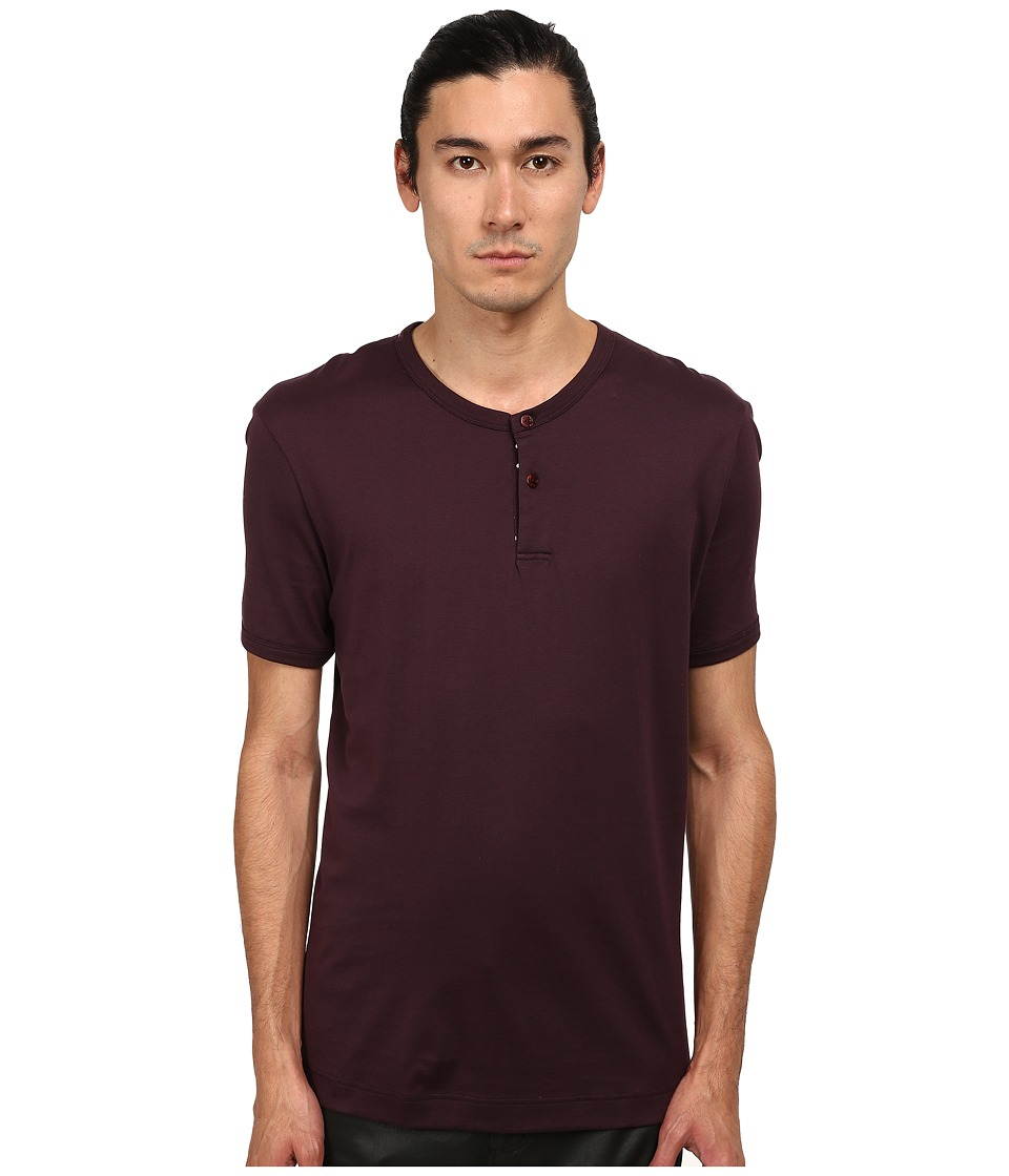 Dolce & Gabbana - Polka Dot T-Shirt w/ Buttons (Bordeaux) Men's T Shirt
