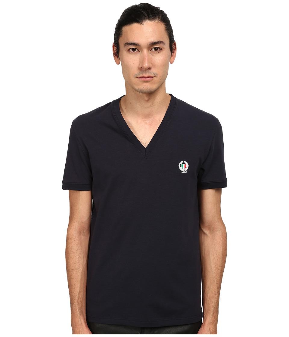 Dolce & Gabbana - Sport Crest V-Neck T-Shirt (Blue) Men