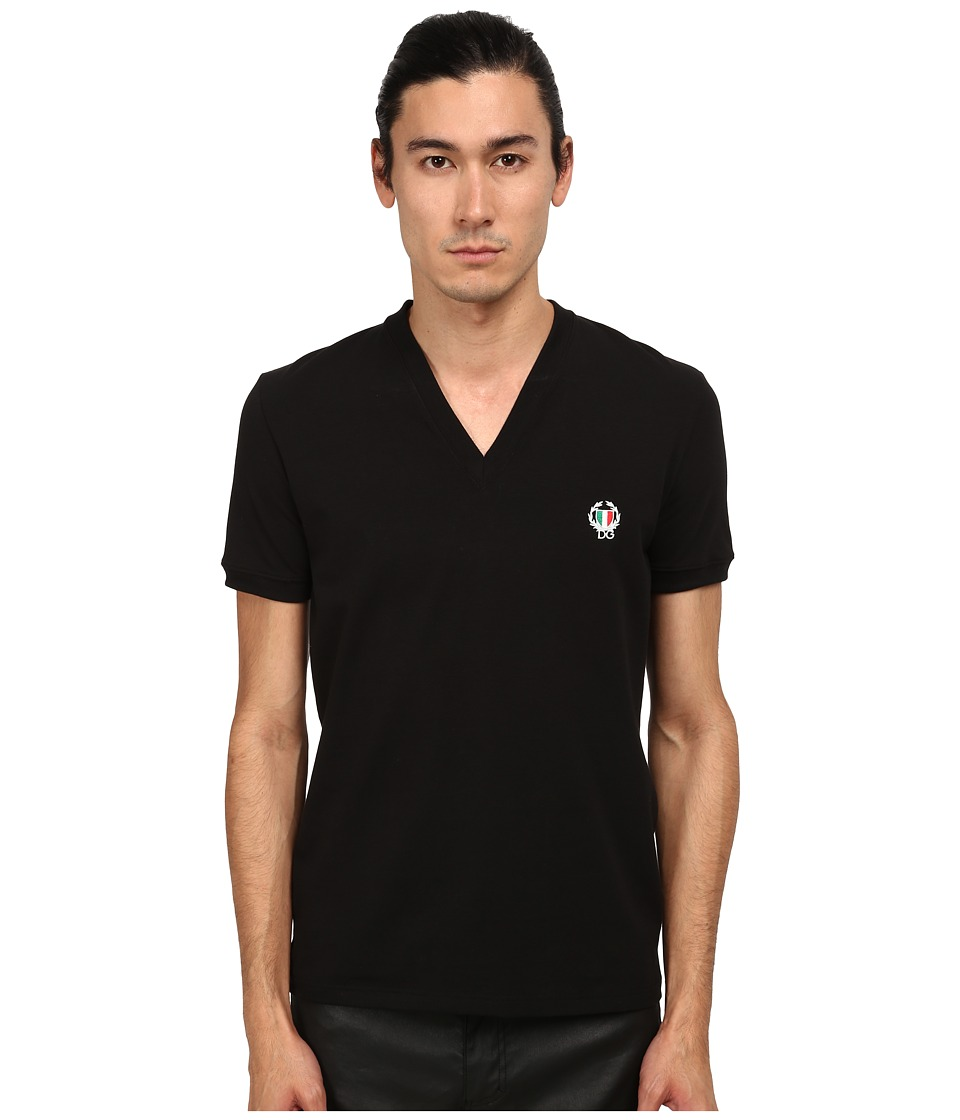 Dolce & Gabbana - Sport Crest V-Neck T-Shirt (Black) Men