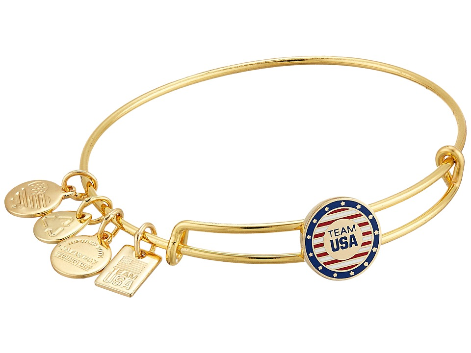 Alex and Ani - Team USA Epoxy Slider Bangle (Shiny Gold Finish) Bracelet