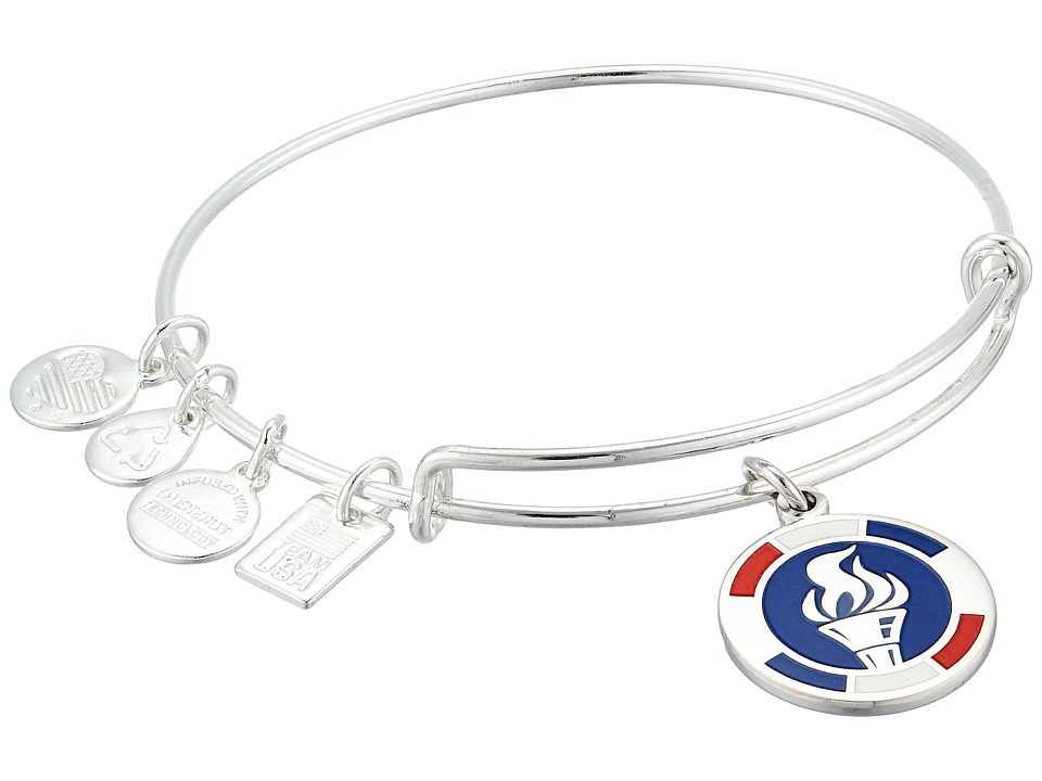Alex and Ani - Team USA Flame Epoxy Expandable Wire Bangle (Shiny Silver Finish) Bracelet