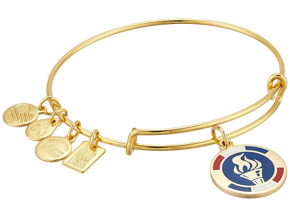 Alex and Ani - Team USA Flame Epoxy Expandable Wire Bangle (Shiny Gold Finish) Bracelet