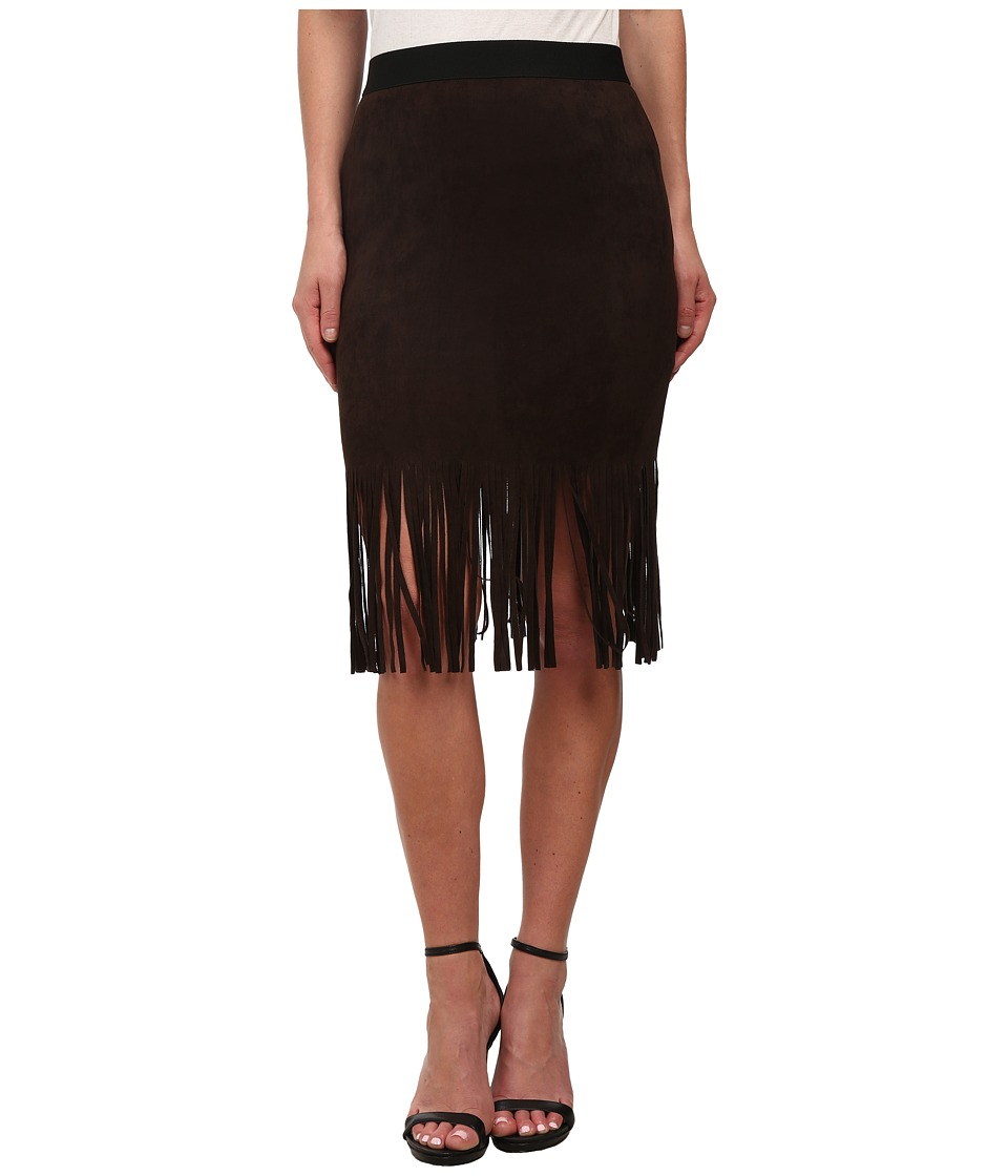 Karen Kane - Faux Suede Fringe Skirt (Brown) Women's Skirt