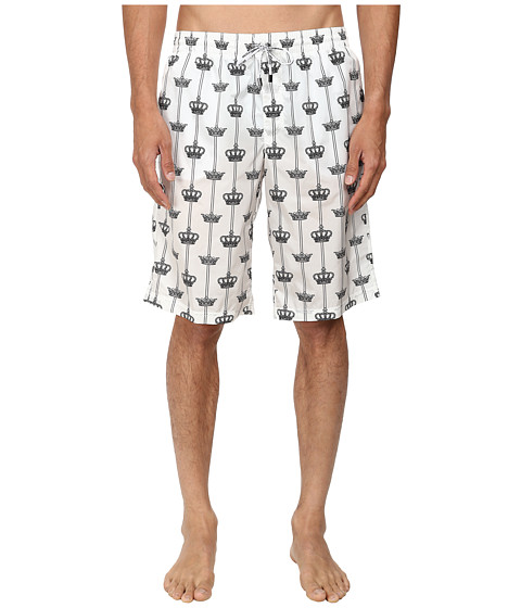 Dolce & Gabbana - Crown Stripe Printed Trunks (Crown/Stripe Print) Men's Swimwear