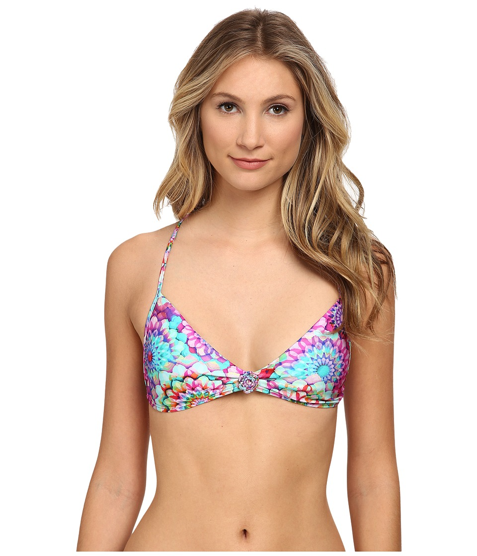Luli Fama - Sol Brillante Hand Knit Crochet Flowers Back Bra Top (Multicolor) Women's Swimwear