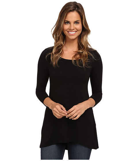 Karen Kane - 3/4 Sleeve Hi-Lo Top (Black) Women's Clothing