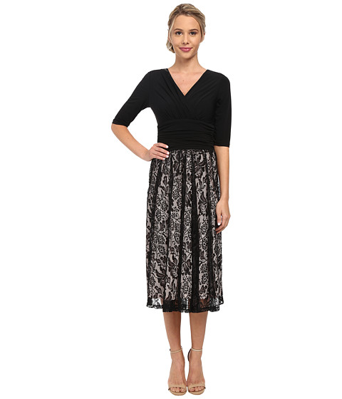 Sangria - V-Neck Top w/ Lace Skirt (Black/Shell) Women's Dress