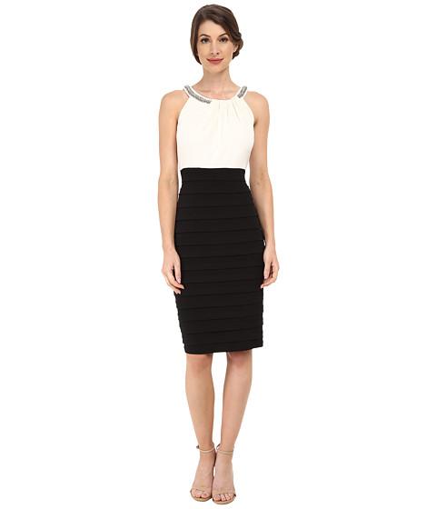 Sangria - Beaded Neck Sheath (Ivory/Black) Women's Dress