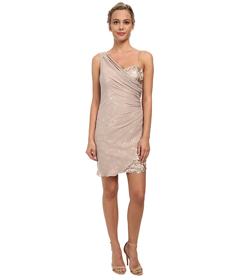 Alejandra Sky - Short Sequin Dress w/ Shirred Overlay (Champagne) Women