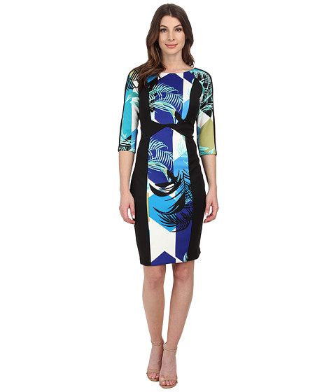 Sangria - Palm Print Scuba Sheath (Black/Blue) Women's Dress