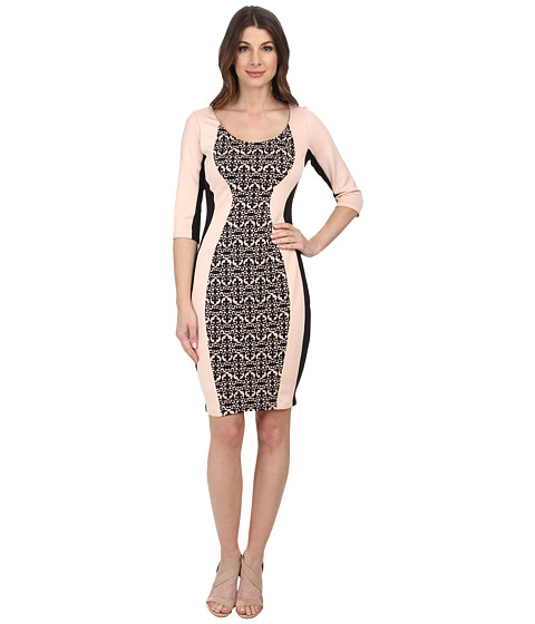 Sangria - Contrast Panel Scuba Sheath (Shell/Black) Women's Dress