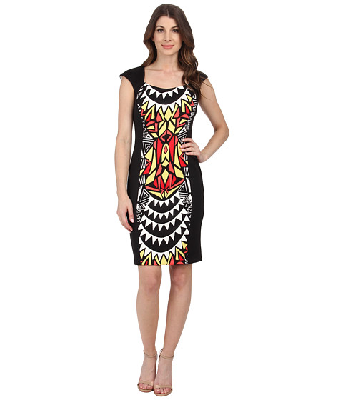Sangria - Tribal Print Scuba Sheath (Black/Coral) Women's Dress