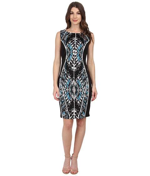Sangria - Mirror Print Scuba Sheath (Black/Blue) Women