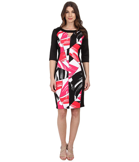 Sangria - Geo Print Scuba Sheath (Black/Pink) Women's Dress