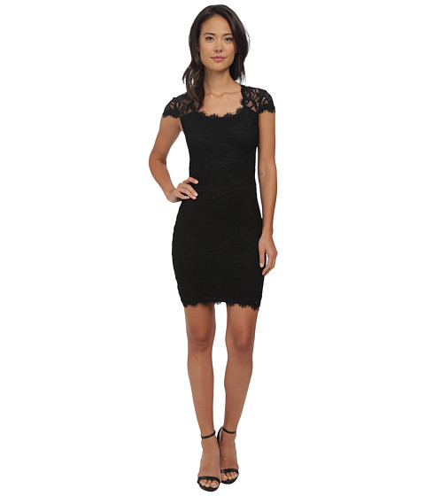 Alejandra Sky - Short Cap Sleeve Dress (Black) Women
