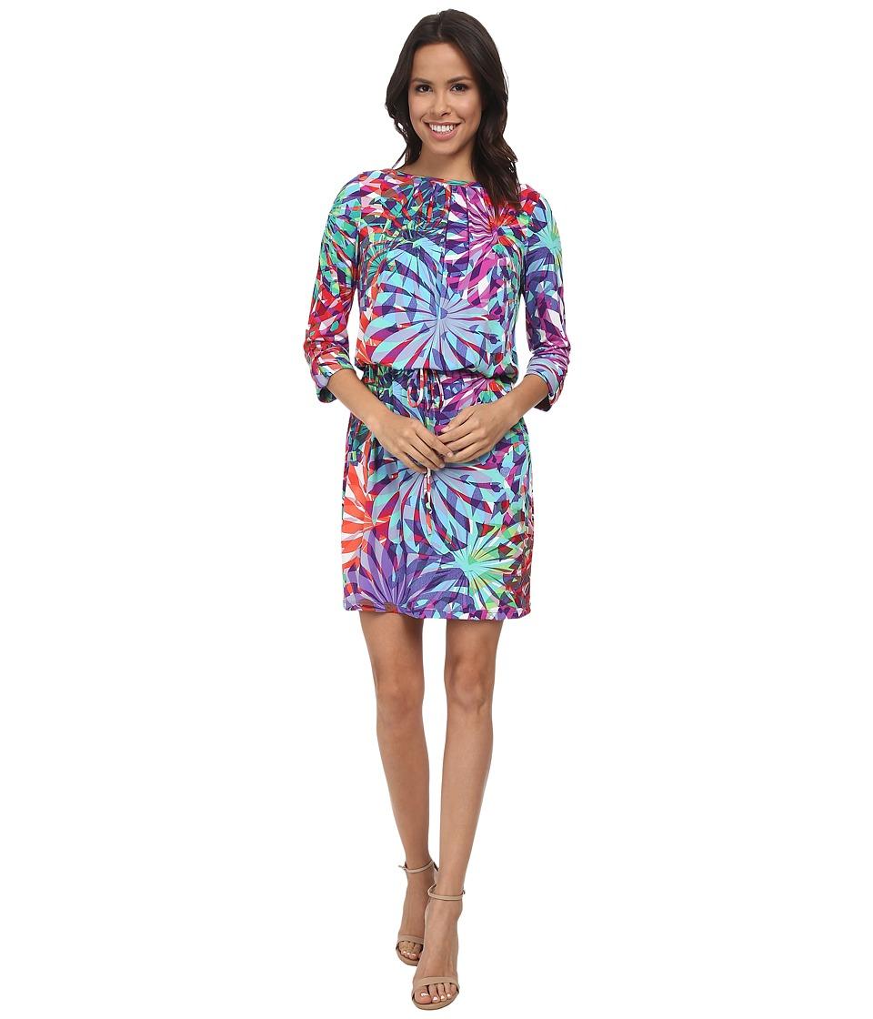 London Times - Printed Blouson Sheath (Multi) Women's Dress