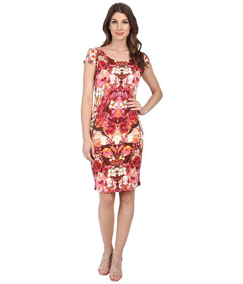 Sangria - Floral Print Scuba Sheath (Brown/Pink) Women