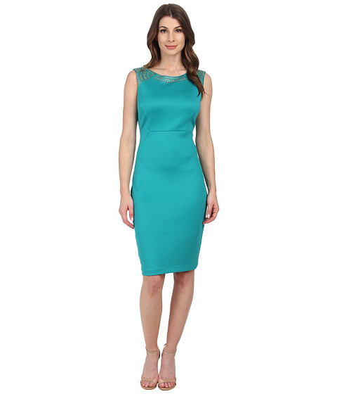 Sangria - Sleeveless Embellished Scuba Sheath (Turquoise) Women
