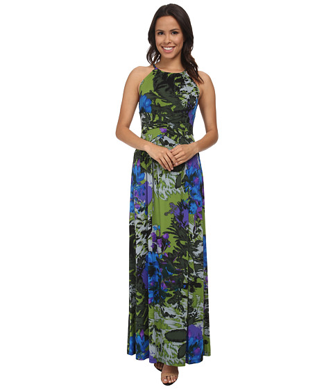 London Times - Floral Print Maxi w/ Shirring (Blue Multi) Women