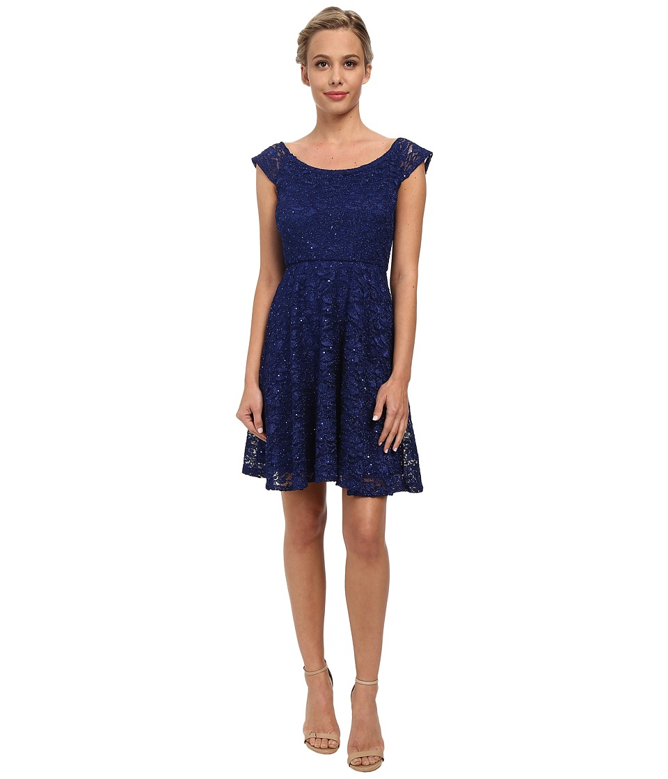 Alejandra Sky - Glitter Stretch Lace Skater Dress (Royal) Women