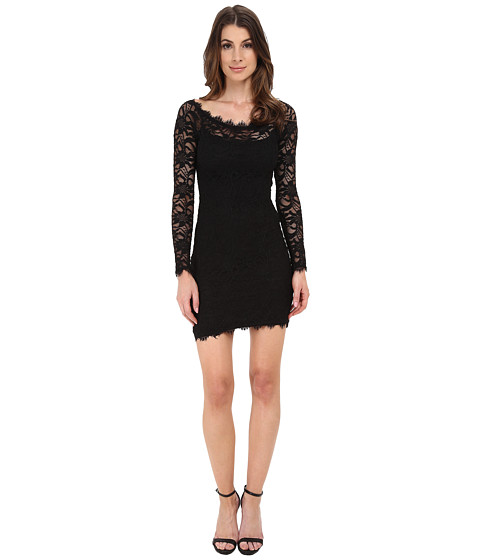 Alejandra Sky - Short Long Sleeve Eyelash Lace Dress (Black) Women