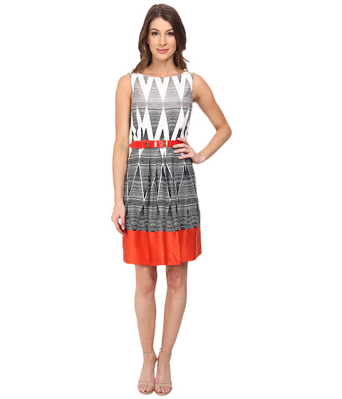 Tahari by ASL - Kristin - Q Dress (White/Black/Tangerine) Women