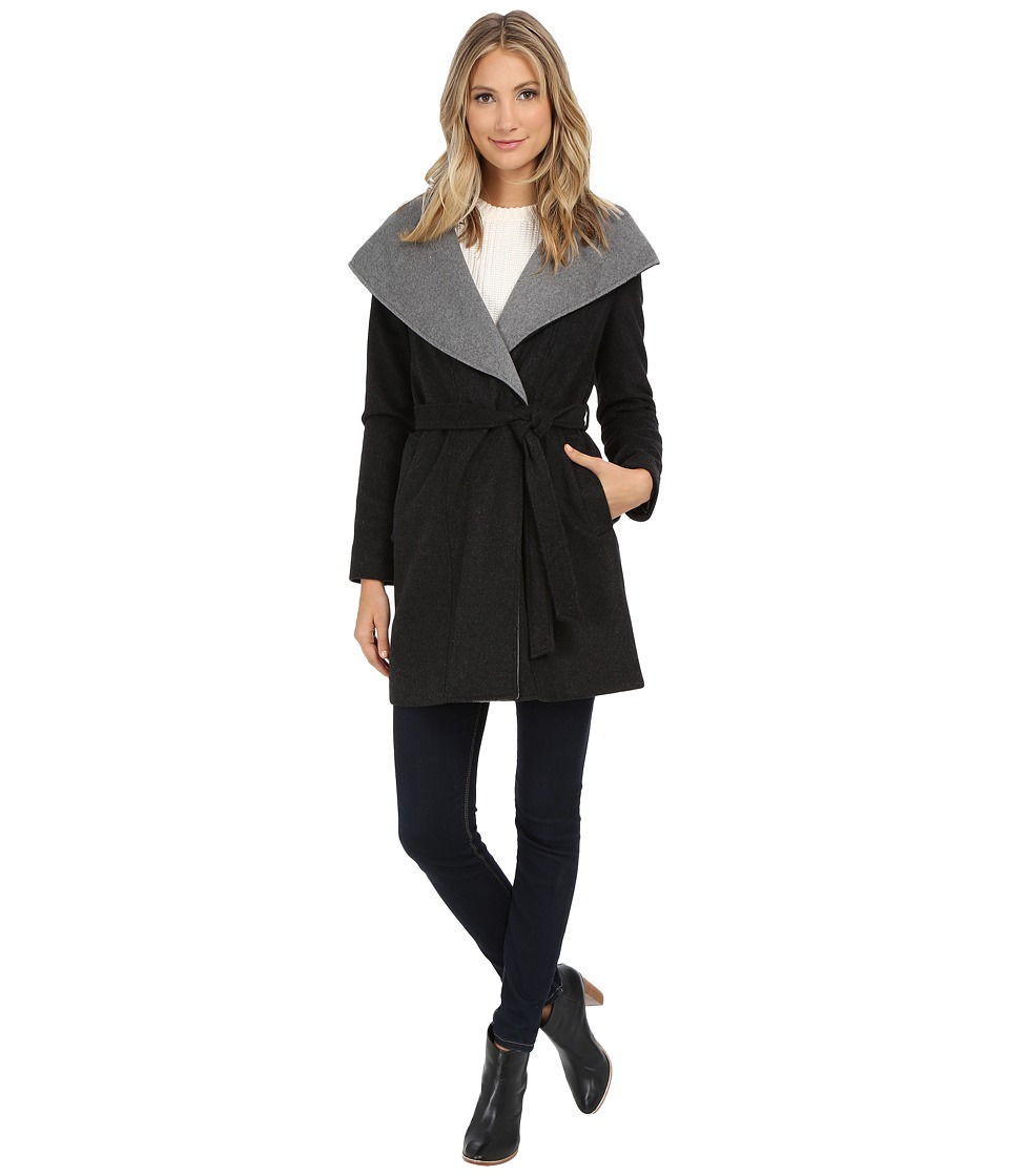 DKNY - Oversized Hooded Shawl Collar Belted Wool 30350-Y5 (Charcoal) Women's Coat