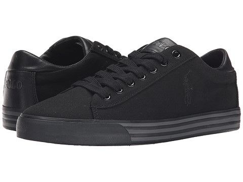 Polo Ralph Lauren - Harvey (Black/Black/Charcoal Canvas) Men's Lace up casual Shoes