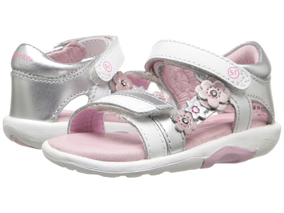 Stride Rite - SRT Neila (Toddler) (White/Silver) Girls Shoes