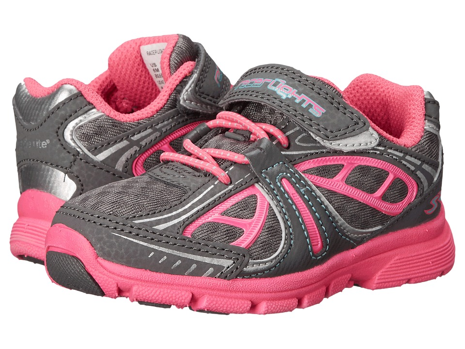 Stride Rite - Racer Lights Evolution (Toddler) (Grey/Pink) Girls Shoes