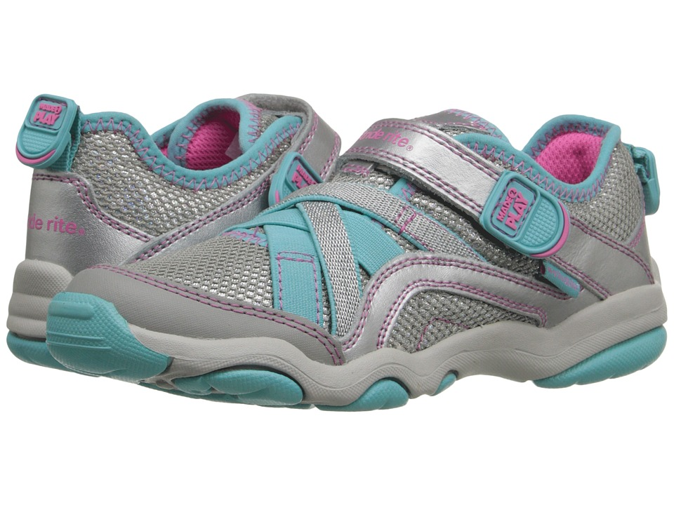 Stride Rite - M2P Serena (Little Kid) (Silver/Blue) Girls Shoes