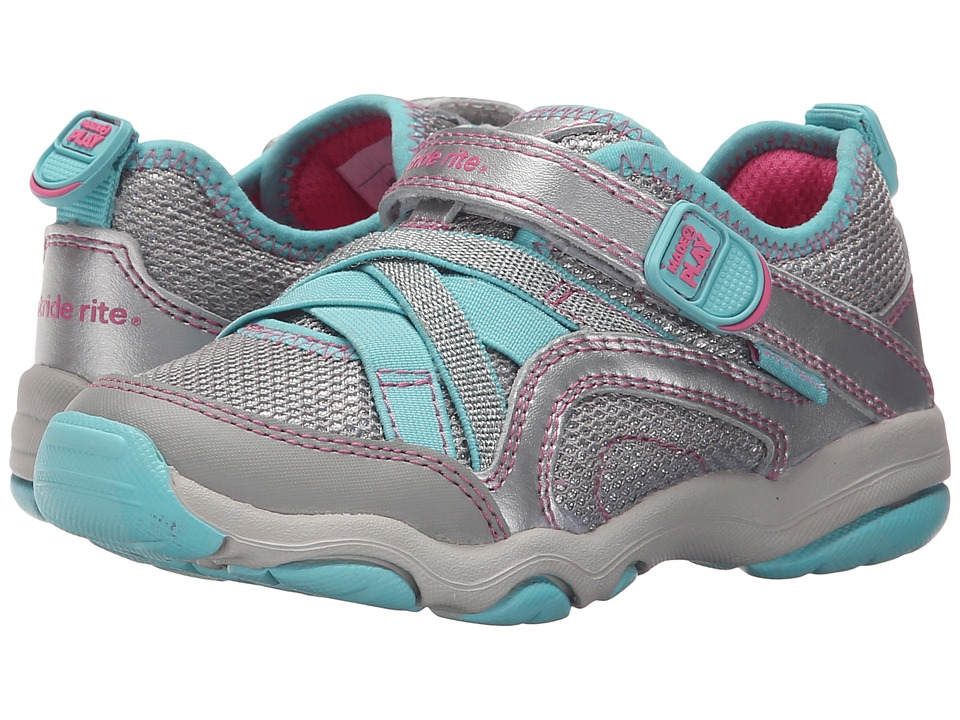 Stride Rite - M2P Serena (Toddler/Little Kid) (Silver/Blue) Girls Shoes