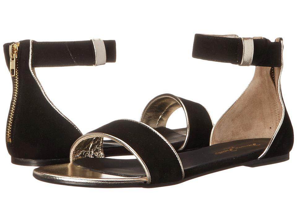 Massimo Matteo - Flat w/ Ankle Strap (Black/Gold) Women's Flat Shoes