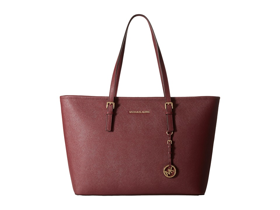 MICHAEL Michael Kors - Jet Set Travel Medium Top Zip Mult Funt Tote (Merlot) Tote Handbags