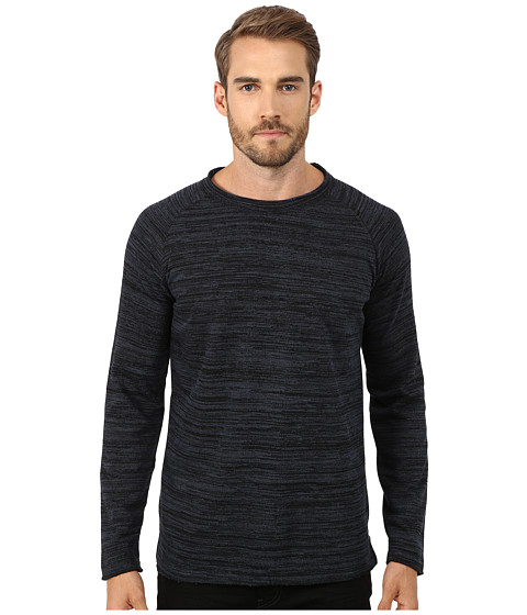 Lindbergh - Raw Boat Neck Knit (Denim Blue Melange) Men