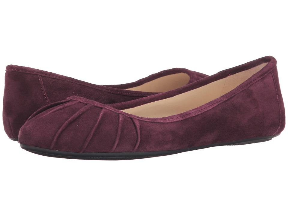 Nine West Blustery Dark Red Suede Womens Flat Shoes