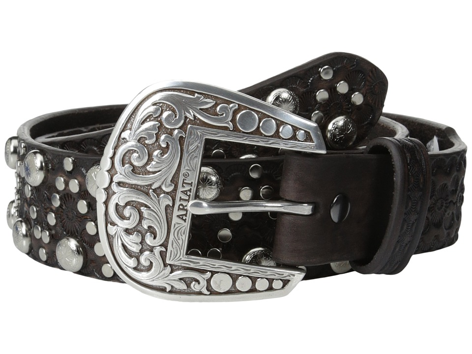 Ariat - Distressed Embossed Brads Belt (Brown) Men's Belts